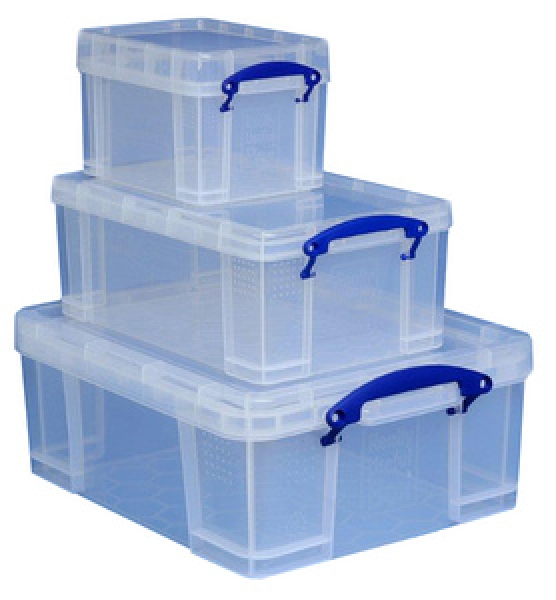 Really Useful Aufbewahrungsbox 3er-Set, 3 L, 9 L, 18 L